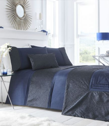 Navy Blue New Stylish Shimmer Crinkle Duvet Quilt Cover Luxury Beautiful Bedding